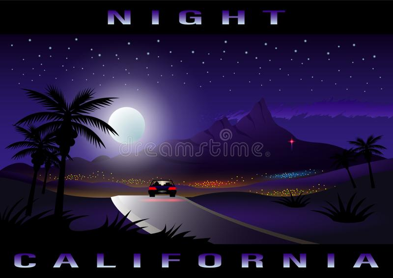 Nocy miasto, tropikalny krajobraz ilustracja wektor