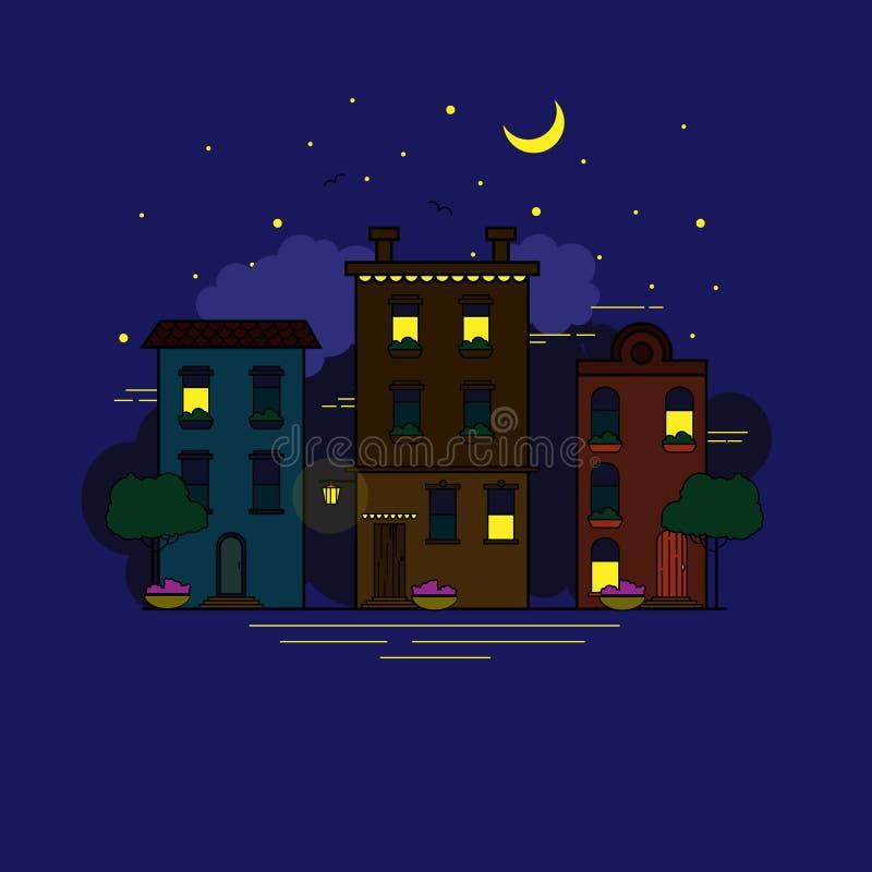 Nocy miasto w mieszkanie stylu ilustracji