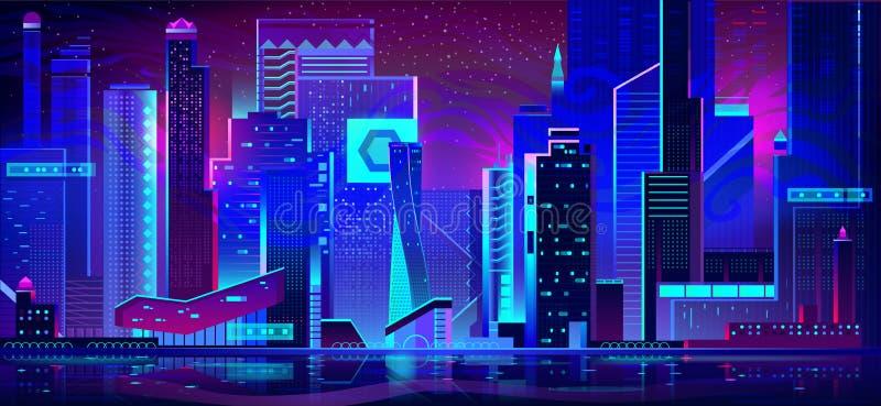Nocy miasto w neonowych ?wiat?ach architektura futurystyczna ilustracja wektor