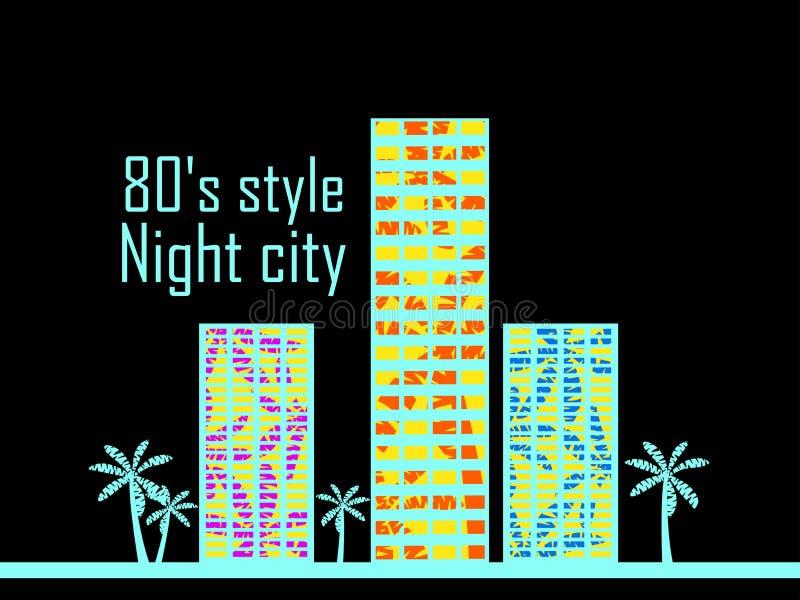 Nocy miasto w stylu 80's Domy z drzewkami palmowymi plakatowymi wektor royalty ilustracja