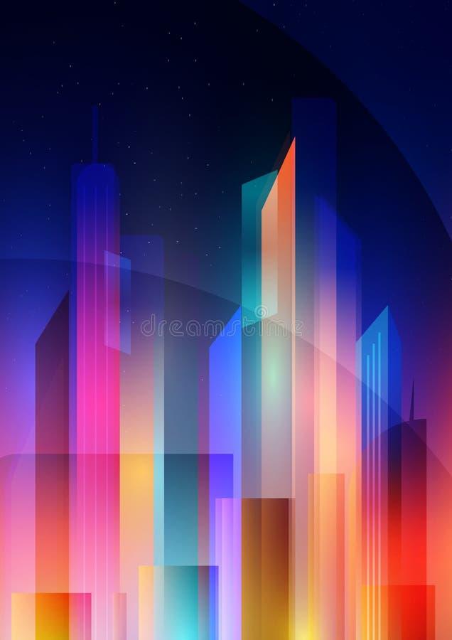 Nocy miasto z neonową łuną i żywymi kolorami w stylu minimalizmu i depresji poli- royalty ilustracja