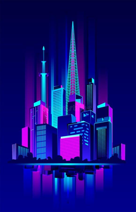 Nocy Neonowy miasto royalty ilustracja