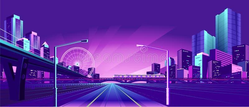 Nocy Neonowy miasto ilustracji