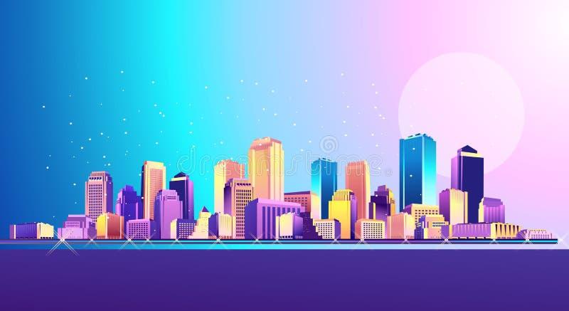 Nocy Neonowy miasto ilustracja wektor