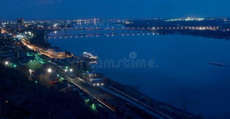 Nocy panorama Perm fotografia stock