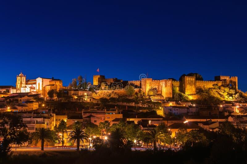 Nocy panorama Silves zdjęcie stock