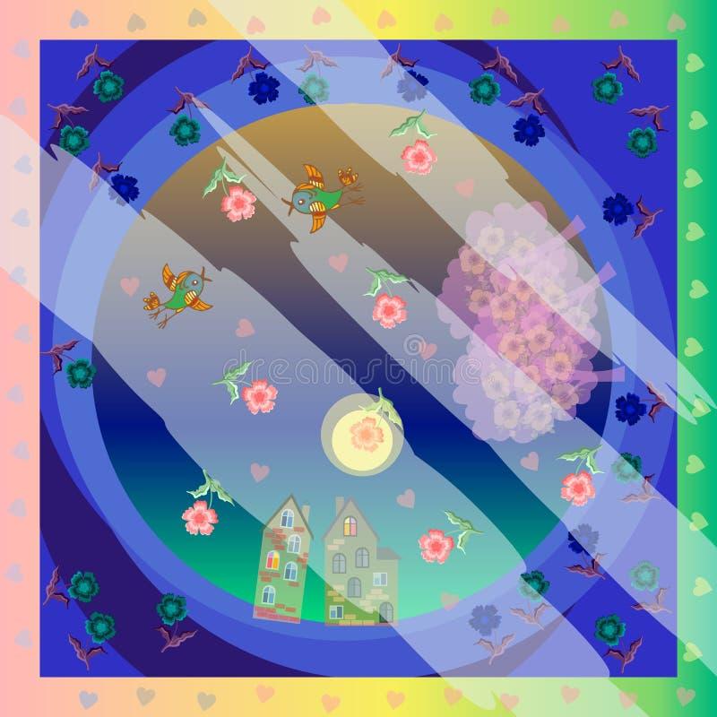 Nocy piosenka Wektorowe bandany druk lub jedwab szyi szalik Wiosna Miłość Deszcz serca i kwiaty Nocy mgła ilustracji