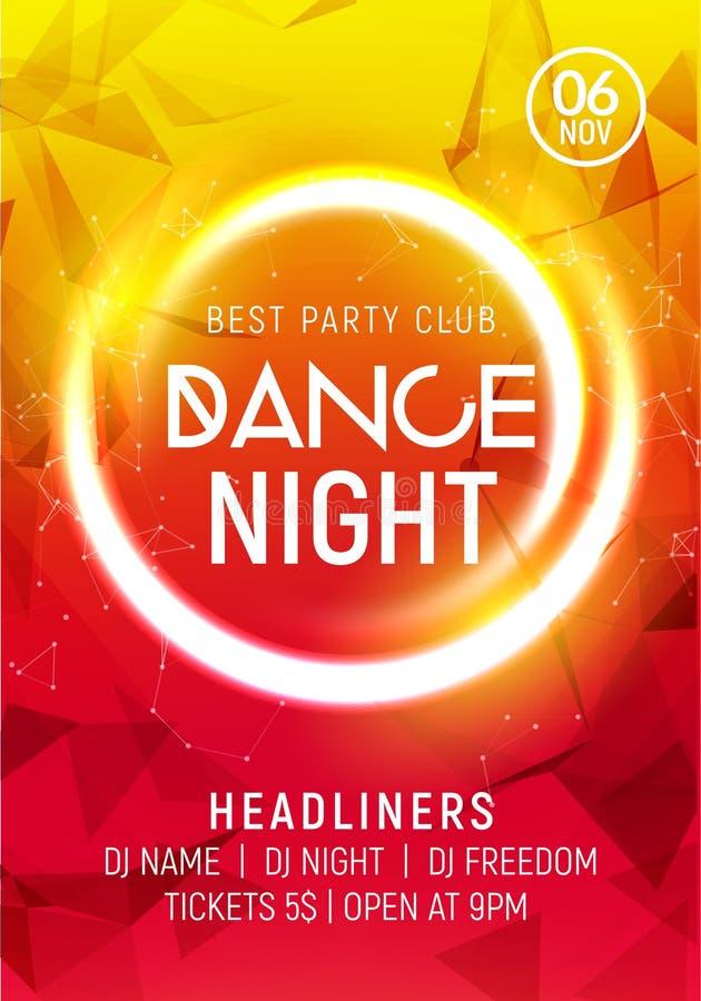 Nocy nocy plakata prywatka muzyczny szablon Electro stylu koncerta dyskoteki klubu przyjęcia wydarzenia ulotki zaproszenie ilustracji