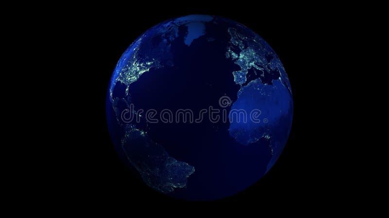 Nocy połówka ziemia od przestrzeni pokazuje północ i południe Ameryka, Europa i Afryka, royalty ilustracja