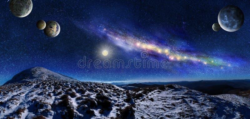 Nocy przestrzeni krajobraz ilustracja wektor