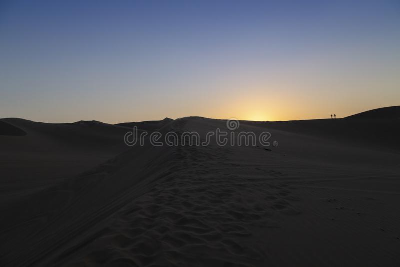 Nocy pustyni widok Huacachina oaza, Ica, Peru fotografia stock