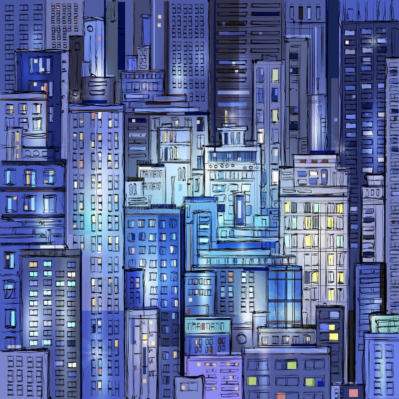 Nocy ręka rysująca Miastowa scena cityscape ilustracja wektor