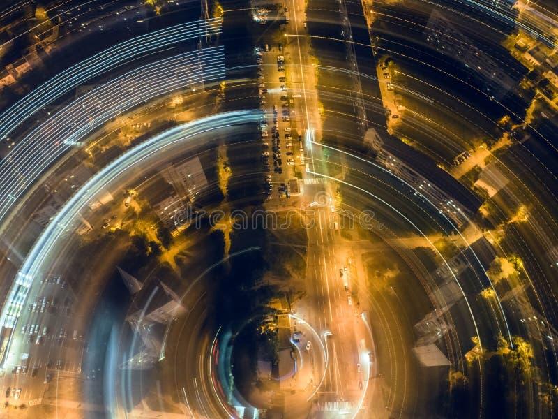 Nocy rozdroże od wysokości zdjęcia stock