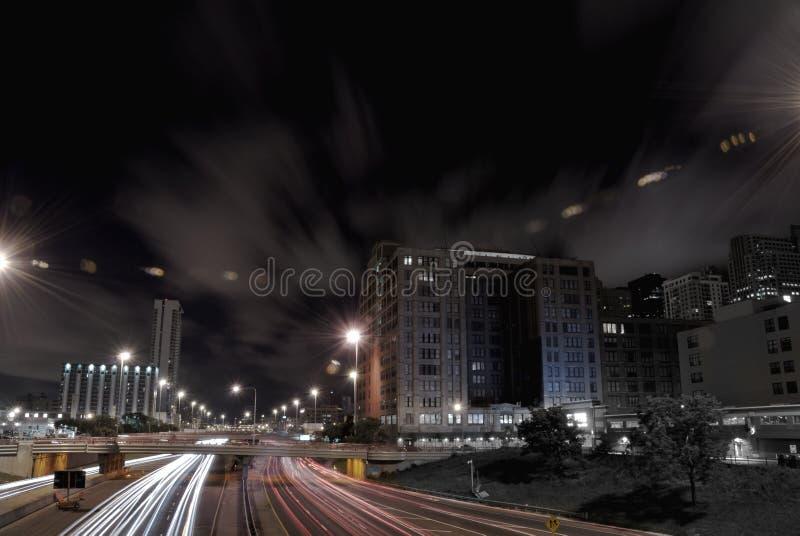 nocy ruch drogowy fotografia royalty free