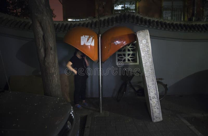 Nocy scena na ulicach Pekin Chiny fotografia stock