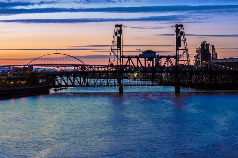 Nocy scena Portland, Oregon obrazy stock
