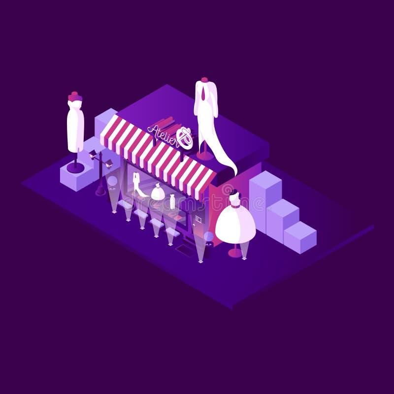 Nocy scena z isometric krawieckim atelier sklepem Pojęcie w żywych purpurach barwi z wielkimi mannequins i biel ubiera Mały busi ilustracji