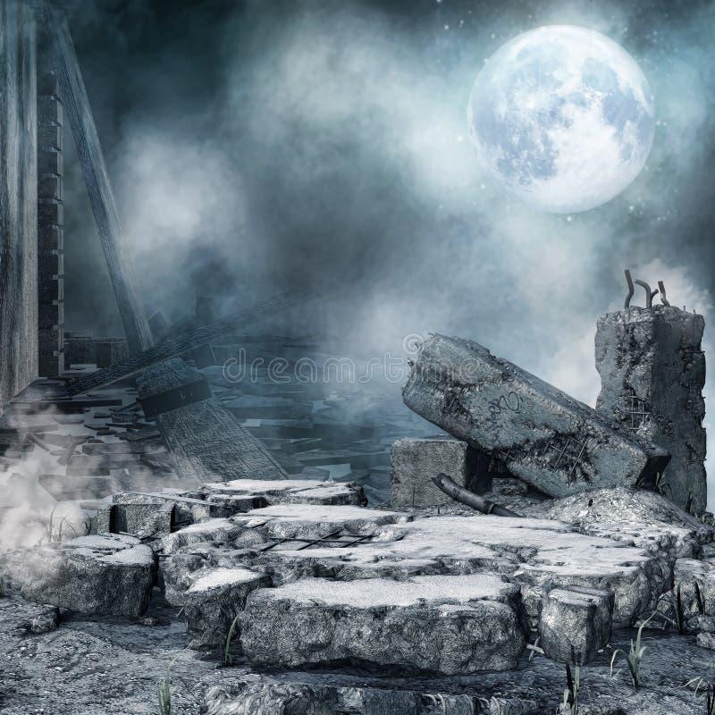 Nocy sceneria z miasto gruzem ilustracja wektor