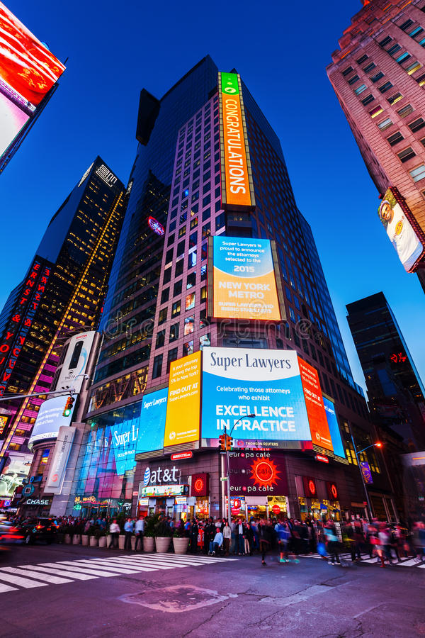 Nocy sceny kwadrat czasami, Manhattan, Miasto Nowy Jork zdjęcia stock