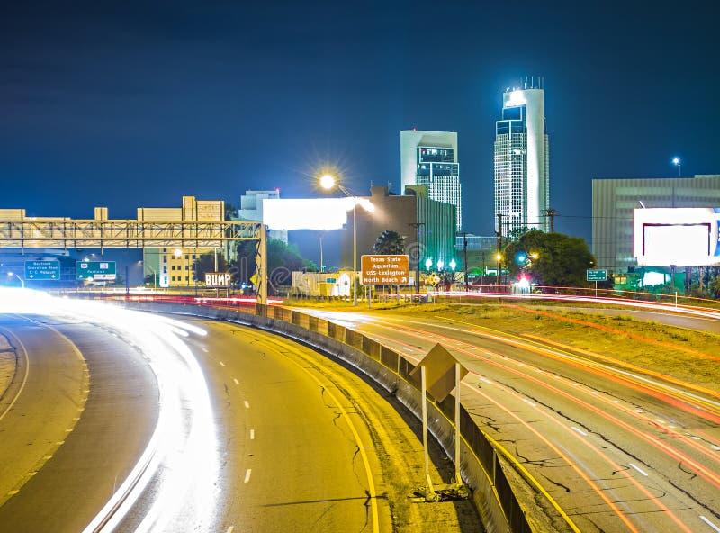 Nocy sceny wokoło korpusu językowego christi Texas fotografia stock