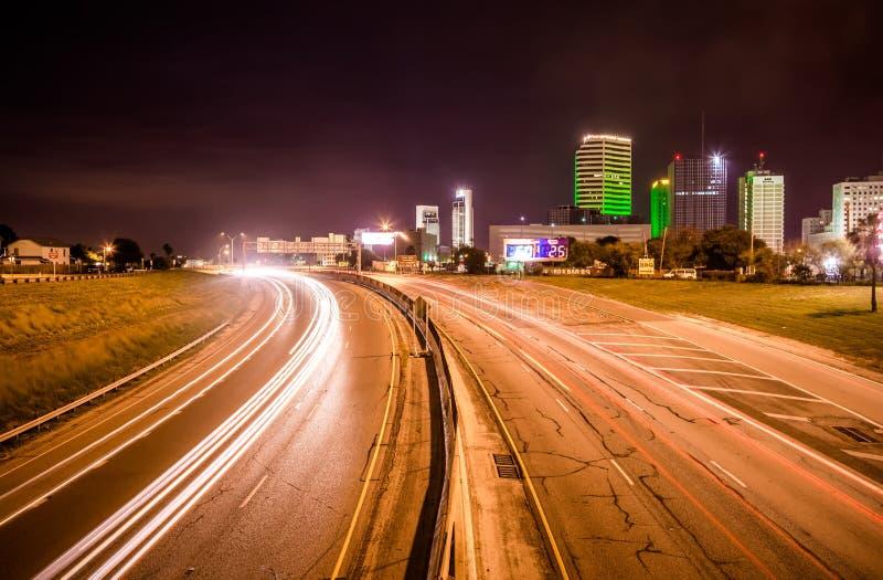 Nocy sceny wokoło korpusu językowego christi Texas obrazy stock