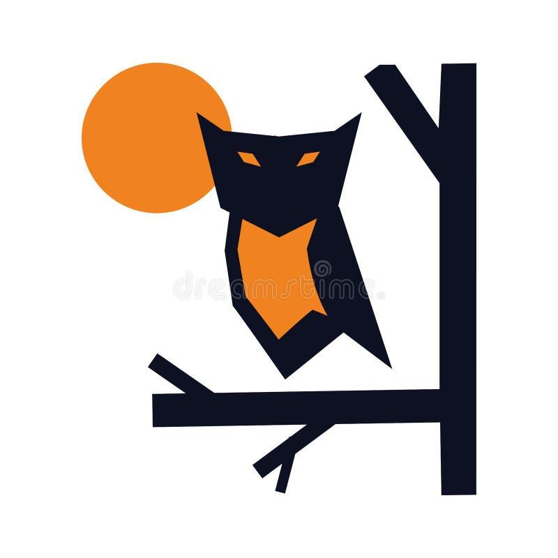 Nocy sowa przy drzewnym logo pojęciem ilustracja wektor