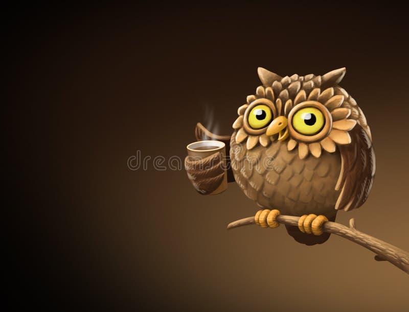 Nocy sowa z kawą ilustracja ilustracja wektor
