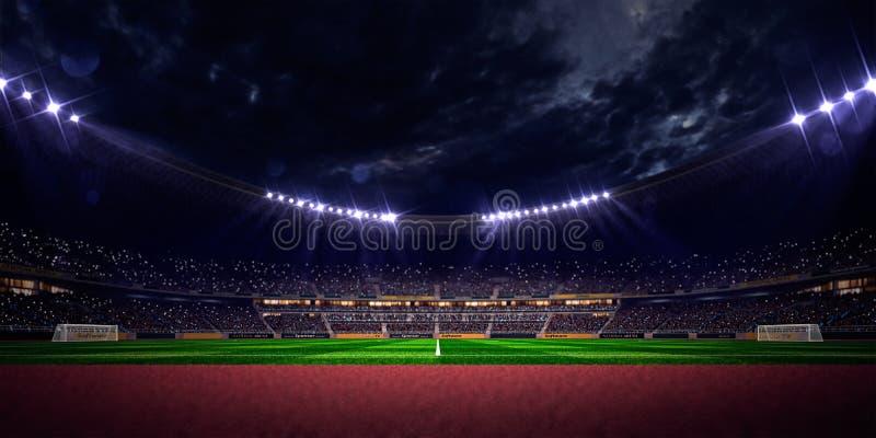 Nocy stadium areny boisko do piłki nożnej ilustracja wektor