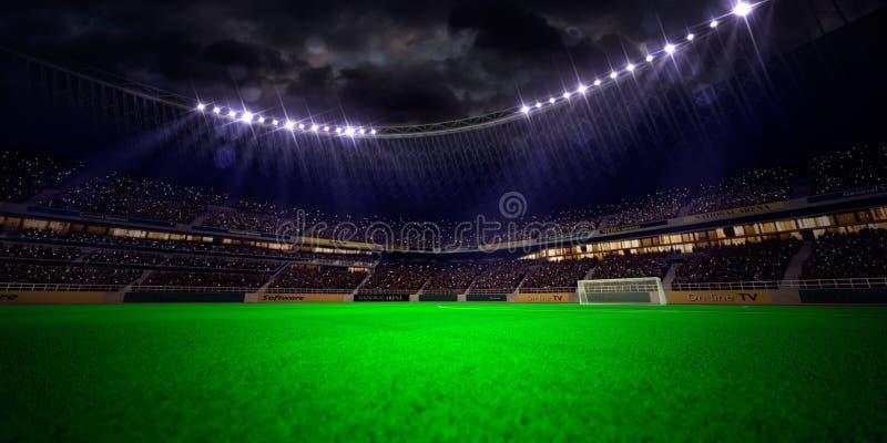 Nocy stadium areny boisko do piłki nożnej obrazy stock