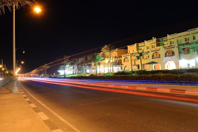 Nocy steet scena w Egipt zdjęcie stock