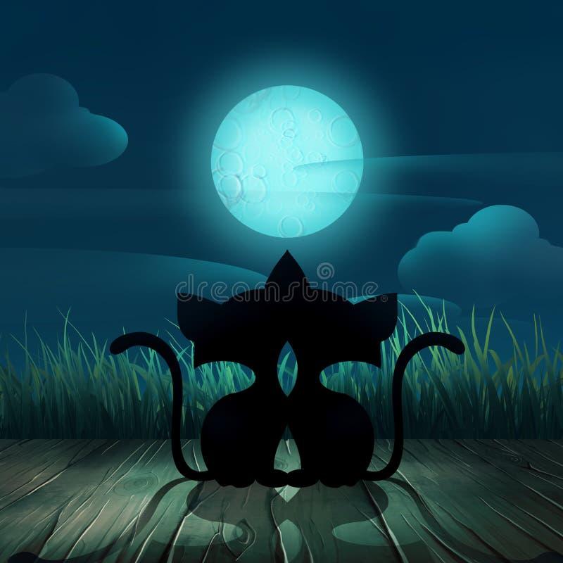 Nocy tła z kotami royalty ilustracja
