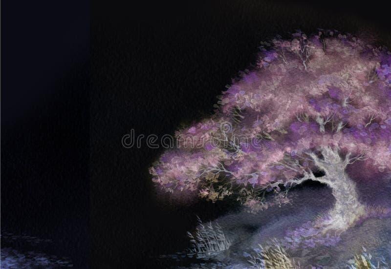 Nocy tło z wiosny kwitnącym drzewem na jeziorze ilustracji