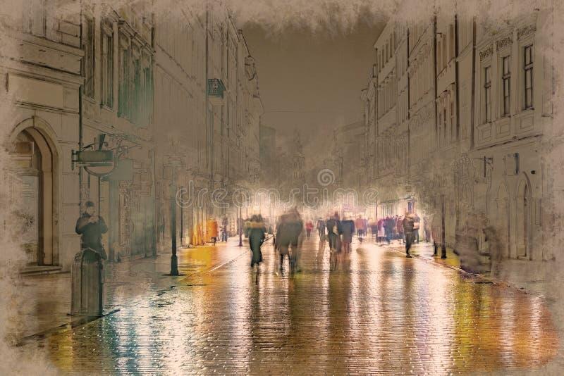 Nocy ulica w Krakow, Polska royalty ilustracja