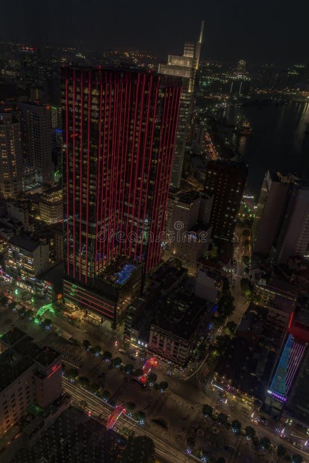 Nocy ulicy po zmierzchu w Ho Chi Minh mieście fotografia royalty free