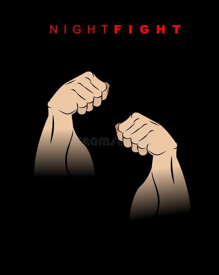 Nocy walka Pięści ciemność Kopnięcie noc Dwa ręki prepar royalty ilustracja