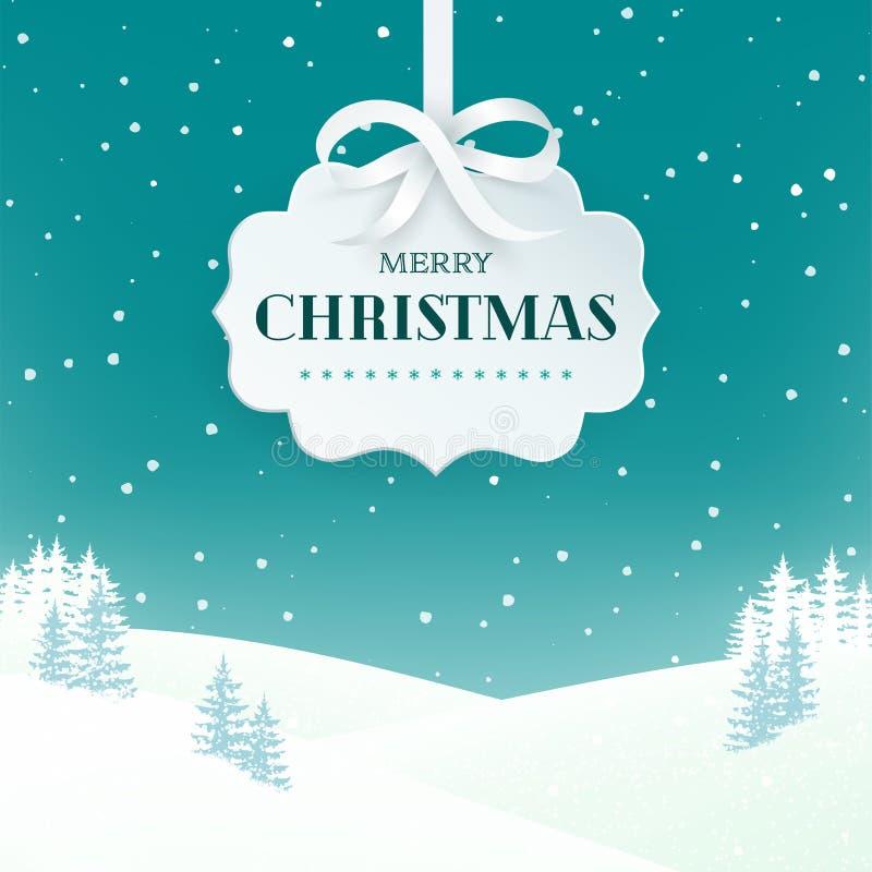 Nocy zimy sceny krajobrazu tło z śnieżnymi śródpolnymi i jedlinowymi drzewami Papierowa 3d etykietka z srebnym łękiem i faborkiem royalty ilustracja