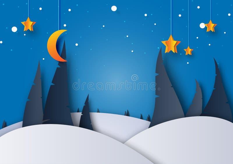 Nocy zimy sezonu krajobraz z sosną, księżyc i gwiazdami, z powrotem royalty ilustracja