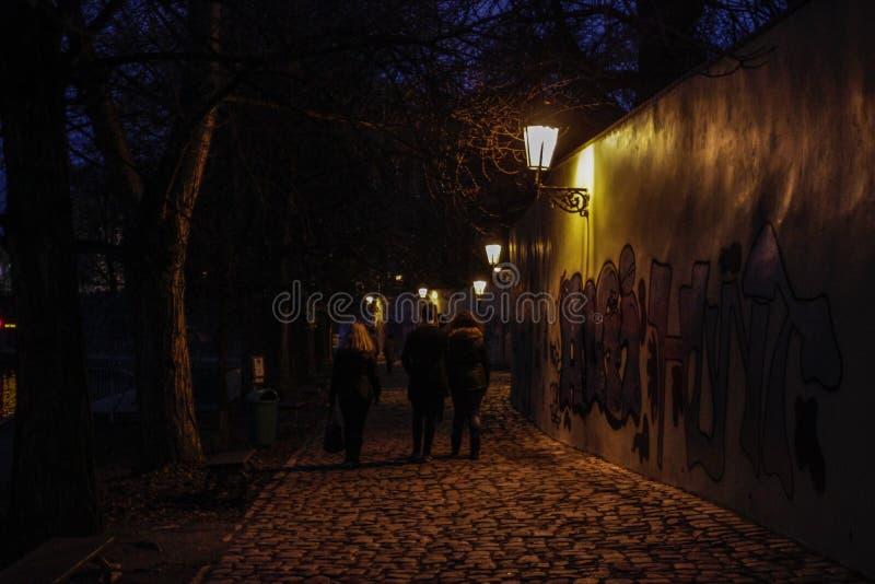 Nocy zwyczajna droga w Praga iluminował graffiti na ścianie i lampą fotografia royalty free