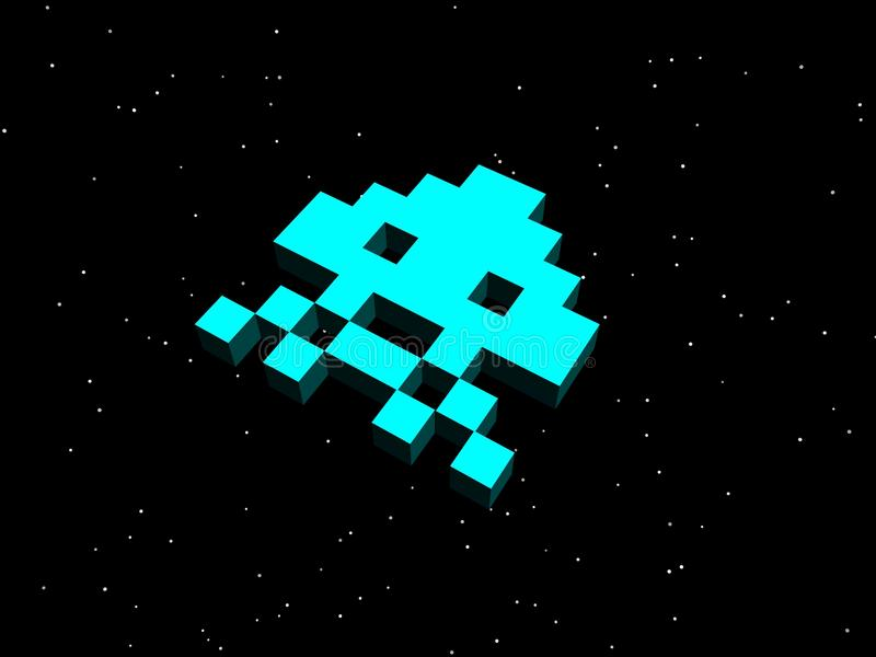 Invaders, space invaders! Cyan alien ship. A nod to the arcade games of the 80s, specifically the classic game Space Invaders royalty free illustration
