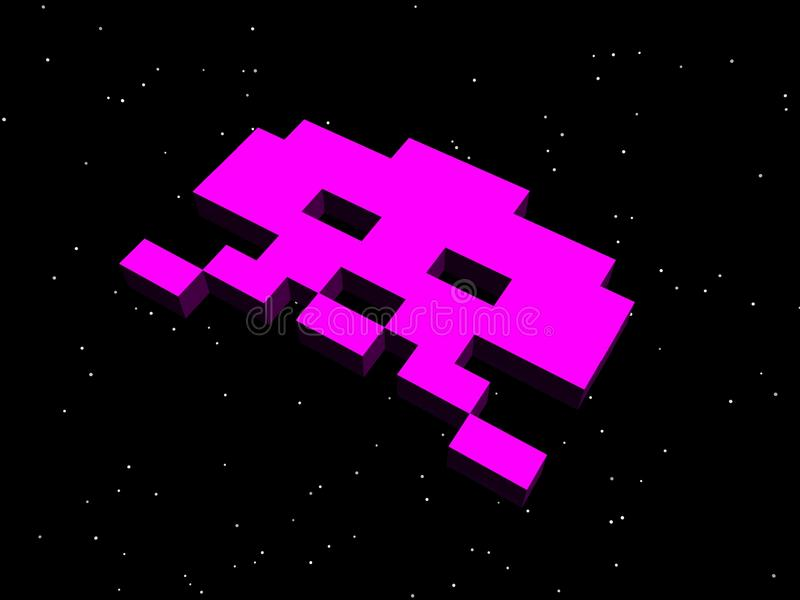 Invaders, space invaders! Pink alien ship. A nod to the arcade games of the 80s, specifically the classic game Space Invaders stock illustration