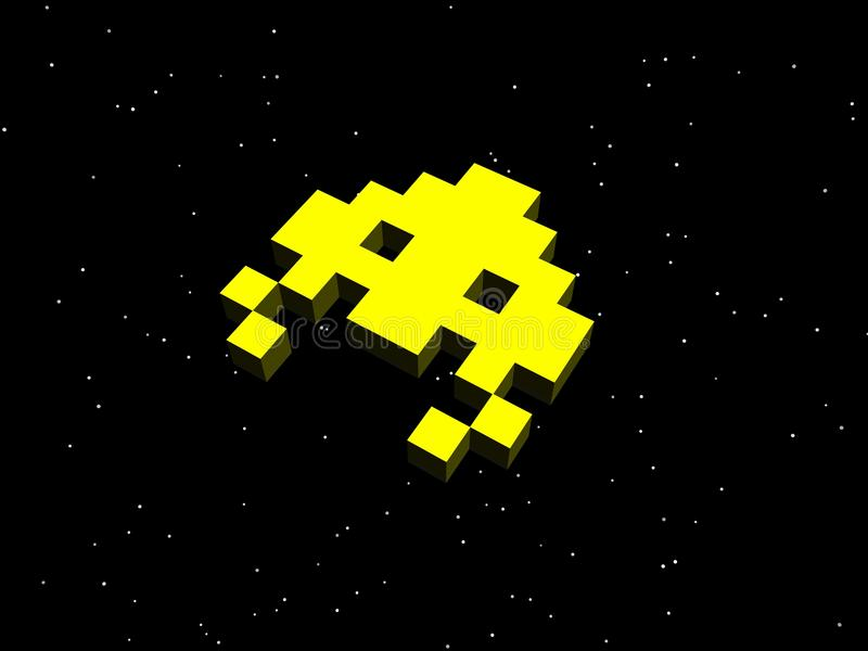 Invaders, space invaders! Yellow alien ship. A nod to the arcade games of the 80s, specifically the classic game Space Invaders vector illustration