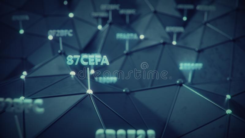 Nodes with hexadecimal code marks 3D rendering illustration. Nodes with hexadecimal code marks. Abstract information technology concept. 3D rendering royalty free illustration