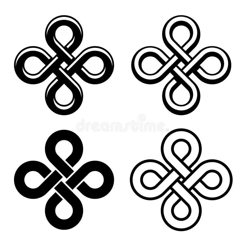 Nodi bianchi neri celtici senza fine illustrazione vettoriale