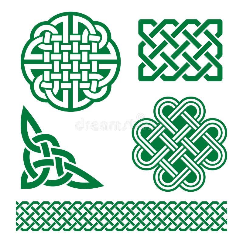 Nodi, trecce e modelli verdi celtici - il giorno di St Patrick in Irlanda royalty illustrazione gratis