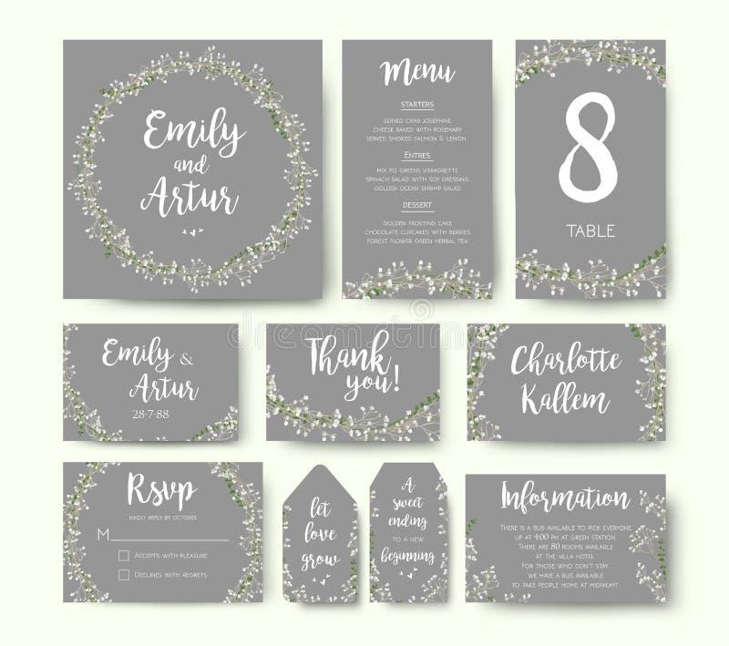 Nodigt de huwelijks bloemenuitnodiging het zilveren grijze ontwerp van de bloemkaart uit: stock illustratie