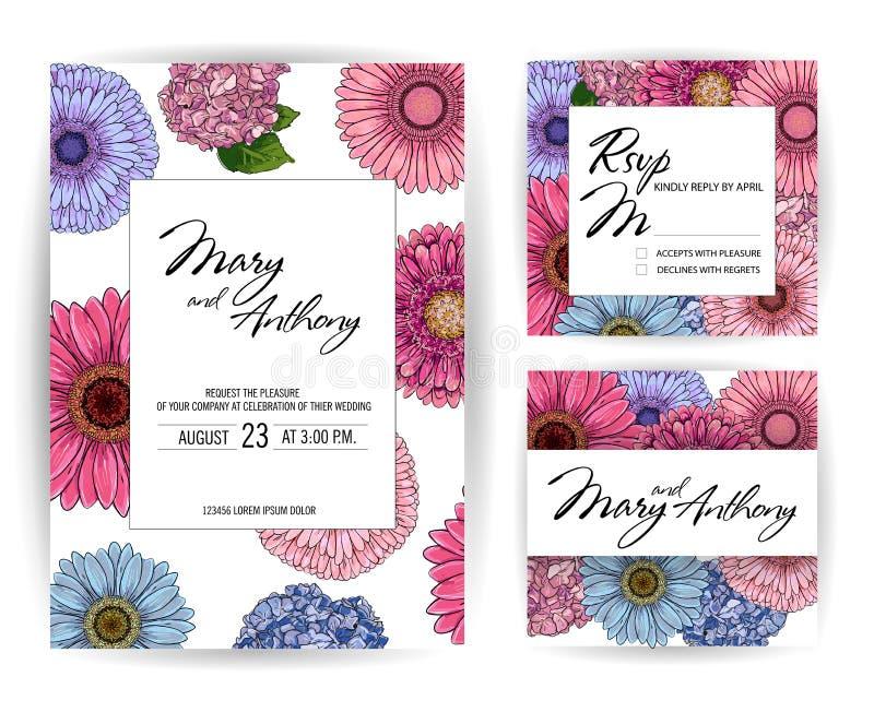 Nodigt de huwelijks roze en blauwe Uitnodiging, schetsgerbera, hydrangea hortensia kaartontwerp uit: Hand getrokken kleurrijke te royalty-vrije illustratie