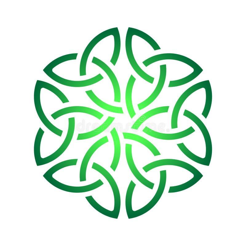 Nodo celtico dell'acetosella nel cerchio Simbolo dell'Irlanda illustrazione di stock