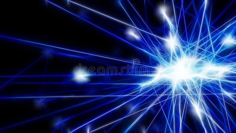 Nodo de red futurista azul abstracto de la tecnología Datos lin del cable foto de archivo
