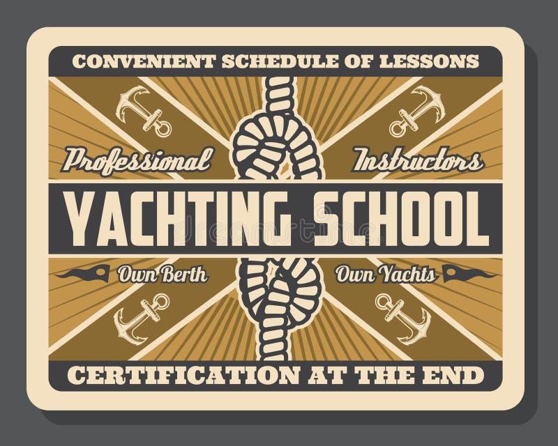 Nodo dell'ancora e della barca a vela dell'yacht Scuola di navigazione da diporto royalty illustrazione gratis