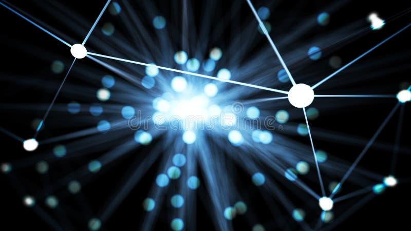 Nodo di rete futuristico blu astratto di tecnologia Cabli la linea di dati collegamenti della trasmissione e concetto della strut royalty illustrazione gratis